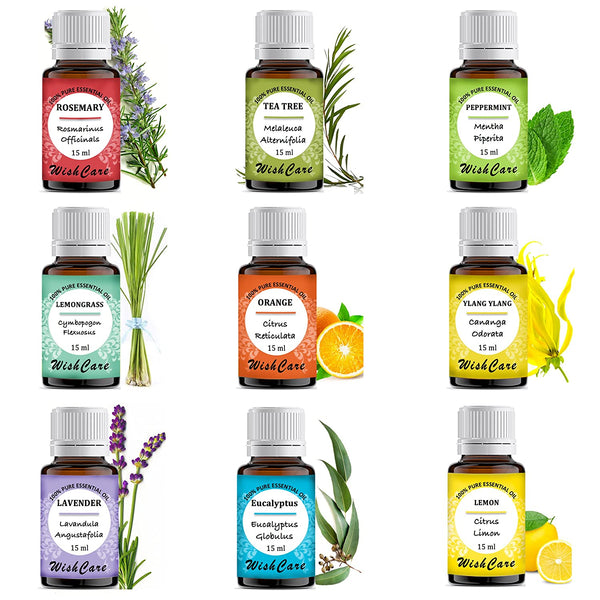 9 in 1 Combo - 100% Pure Essential Oil - 15 ml each - WishCare