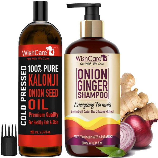 WishCare Onion Ginger Shampoo & Oil - Strengthening Formula - For All Hair Types