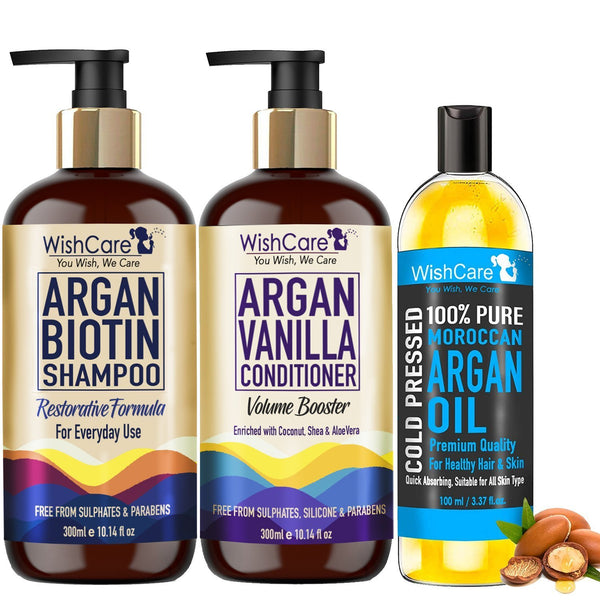 Argan Biotin Hair Combo - Restorative & Volumizing Formula - For All Hair Type - WishCare