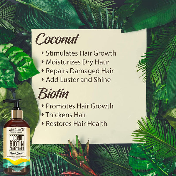 Coconut Biotin Conditioner - Repair Booster - For All Hair Types -300ml - WishCare