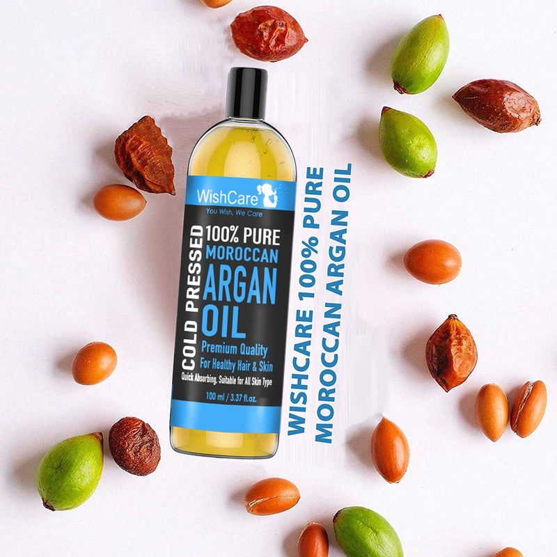 Cold Pressed Moroccan Argan Oil - Premium Quality - 100ml - WishCare