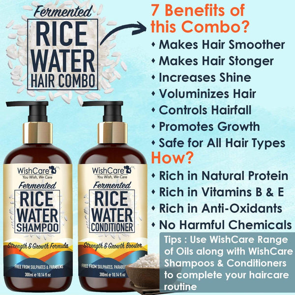 Fermented Rice Water Ultimate Combo - Strength & Growth Formula - For All Hair Types - WishCare