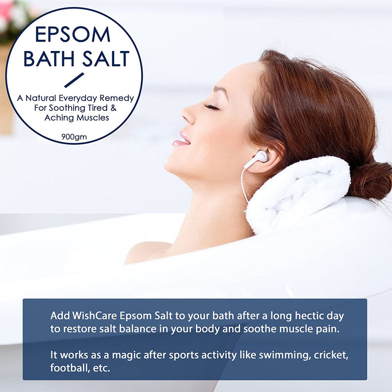 Natural & Pure Epsom Bath Salt - 950 Gms - For Muscle Pain Relief - WishCare