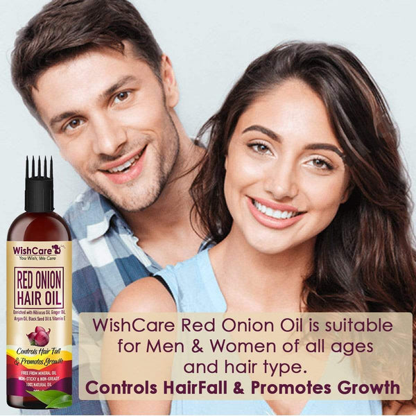 Red Onion Hair Oil - Controls HairFall & Promotes Growth - With Ginger Oil, Black Seed Oil, Vit E Oil, Argan Oil & Hibiscus Oil - WishCare