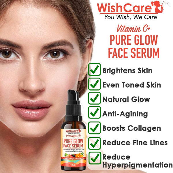 Vitamin C+ Pure Glow Face Serum - 35% Vitamin C, Hyaluronic Acid, Retinol, Niacinamide, Oranges & Turmeric - For Glowing, Bright & Young Skin - 30 ml - WishCare