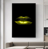 eco green lips canvas wall art in black