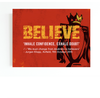 "liverpool f.c canvas wall art with ""believe"" theme and premier league trophy. jurgen klopp quote ""we must change from doubters to believers"""