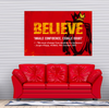 Liverpool F.C. themed motivational canvas wall art. Red with BELIEVE written as title. Inhale confidence exhale doubt quote wall art.