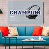dallas cowboys themed motivational canvas wall art for the office with the word champion and Tom Landry quote.