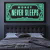 money never sleeps motivational wall art as found on ikonick