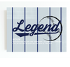 new york yankees themed motivational canvas wall art for the office with the word LEGEND in grey and dark blue.