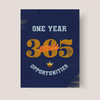 one year equals 365 opportunities quote motivational canvas wall art for entrepreneurs and the office. Navy blue background.