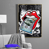 rolling stones logo theme canvas wall art in black