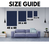 "size guide for canvas wall art showing sizes 18"" x 24"", 12"" x 18"", 30"" x 40"" and 40""x 60""."