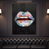 world class taste lips canvas wall art in black