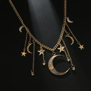 Gypsy Crystal Moon and Stars Necklaces