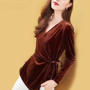 V Neck Full Sleeve Velvet Blouse Tops Fashion with Sashes Velour Tunic Waist Shirts Plus Size 4XL - Wildly Untamed