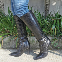 Load image into Gallery viewer, Black Croc Vixen Boots