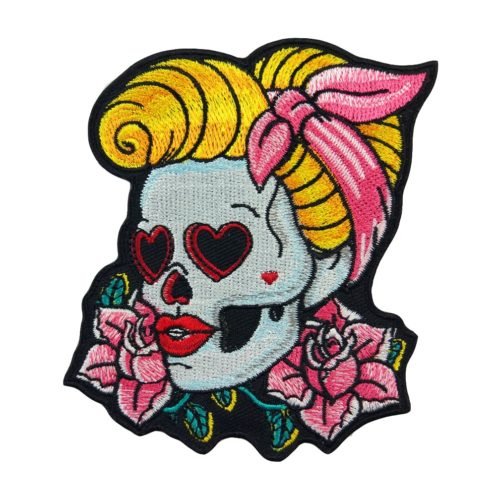 Love In My Eyes Sugar Skull Iron On Patch - Wildly Untamed