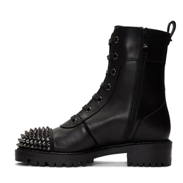 Spiked Matte Leather Boots