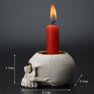 Resin Skull Candle Holder