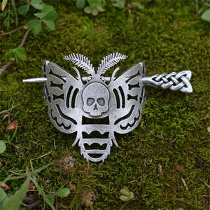 Moth and Skull Hairpin