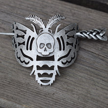 Load image into Gallery viewer, Moth and Skull Hairpin