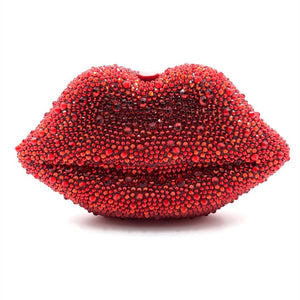 Red Lip Rhinestone Clutch Bag