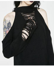 Load image into Gallery viewer, Wicked Black Off Shoulder Sweater