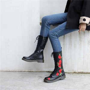 Red Rosita Embroidery Leather Boots