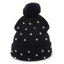 Load image into Gallery viewer, Pompom Metal Stud Punk Beanie - Wildly Untamed