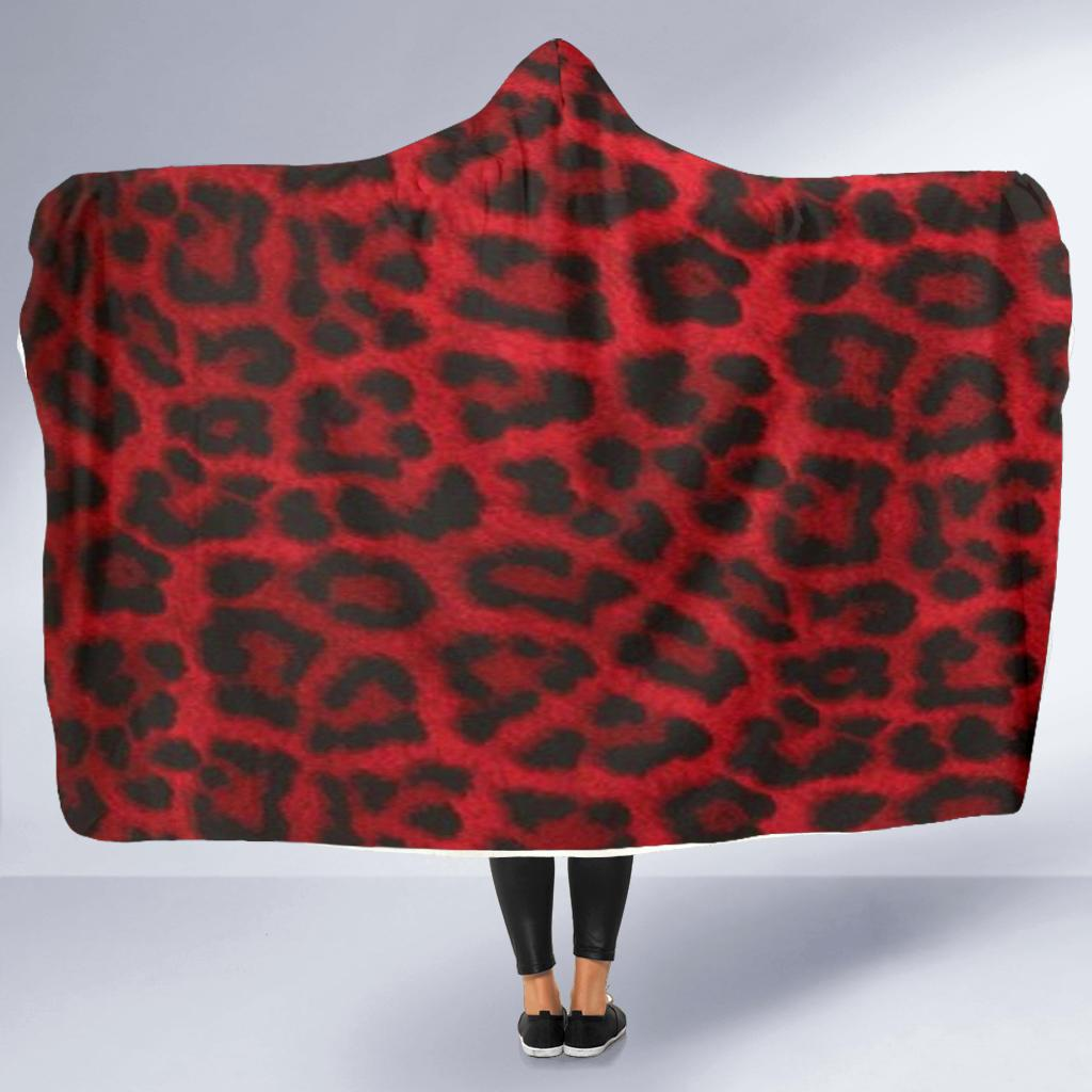 Red Leopard Hooded Blanket (2 Sizes) - Wildly Untamed