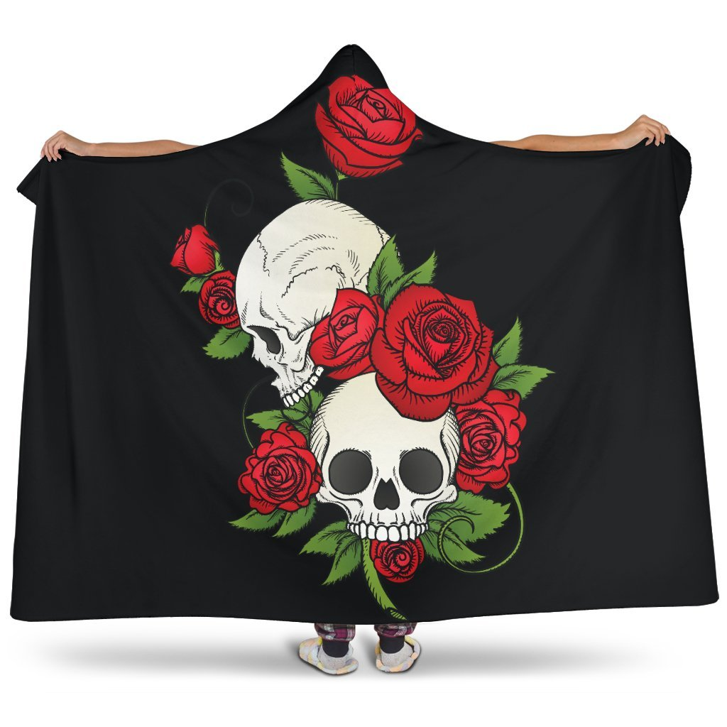 Skull Couple Roses (Black) - Hooded Blanket (2 Sizes) - Wildly Untamed
