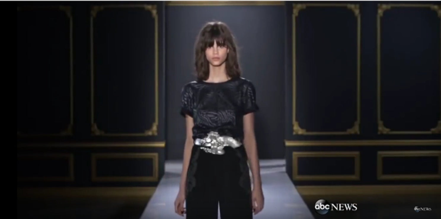 abc news tv features christopher ross belts on rachel roy runway new york city