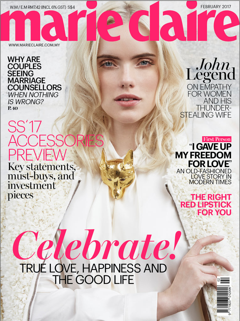 Christopher Ross golden Fox on Cover Marie Claire magazine