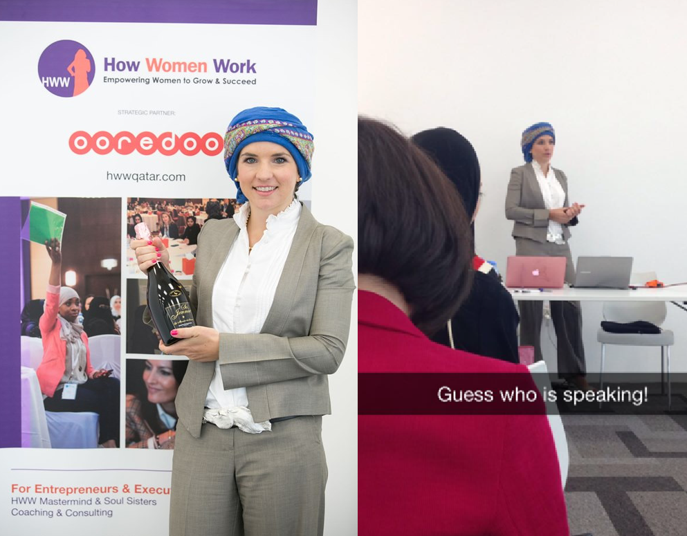 how women work for female entrepreneurs executives qatar event laura wrede wearing christopher ross silver horse belt