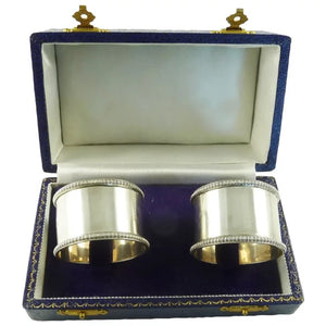 Antique English Sterling Silver Napkin Rings Pair with Gadroon Border Boxed Set - 43 Chesapeake Court Antiques