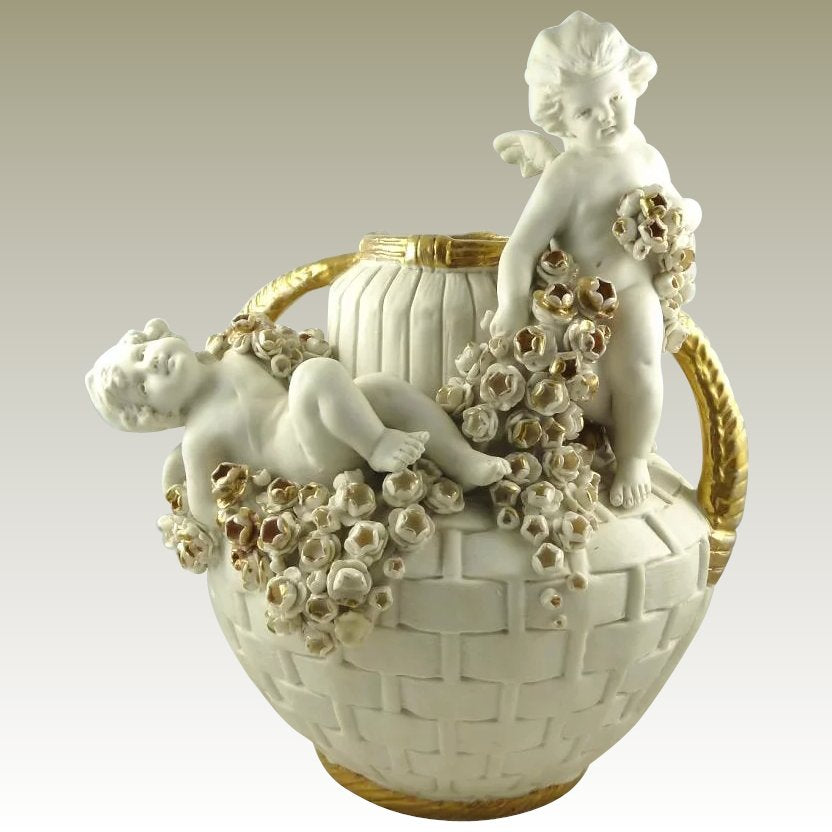 Antique Amphora Double Handled Vase Featuring Putti Cherubs & Roses, Turn Tepliz Austria - 43 Chesapeake Court Antiques