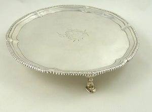 Antique Georgian Sterling Silver Salver Card Tray, London 1774 - 43 Chesapeake Court Antiques