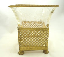 Load image into Gallery viewer, Antique French Gilt Ormolu and Crystal Vase Etched with Bows & Swags - 43 Chesapeake Court Antiques