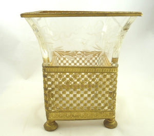 Antique French Gilt Ormolu and Crystal Vase Etched with Bows & Swags - 43 Chesapeake Court Antiques