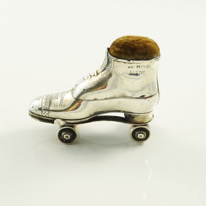 Antique English Sterling Silver Pin Cushion, Novelty Roller Boot or Skate - 43 Chesapeake Court Antiques