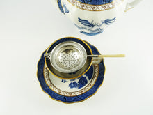 Load image into Gallery viewer, Antique English Sterling Silver Tea Strainer Over the Cup Style,  Mother of Pearl Handle - 43 Chesapeake Court Antiques