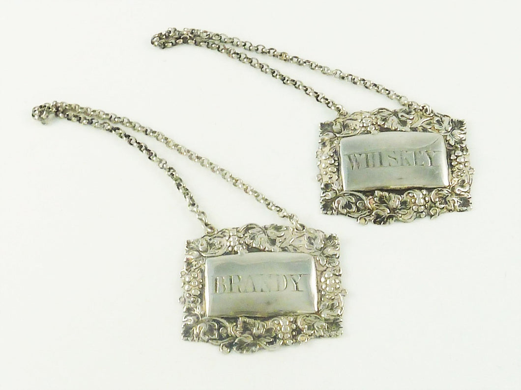 Sterling Silver Decanter Tags or Wine Labels,  Brandy & Whiskey, Victorian - 43 Chesapeake Court Antiques