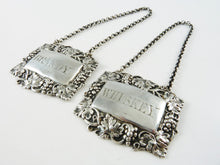 Load image into Gallery viewer, Sterling Silver Decanter Tags or Wine Labels,  Brandy & Whiskey, Victorian - 43 Chesapeake Court Antiques