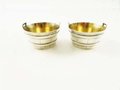 Antique Figural Sterling Silver Salt Cellars by Tiffany & Co Basket or Barrel C 1890 - 43 Chesapeake Court Antiques