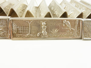 French Silver Plate Dinner Knife Rests Set of Twelve with Children's Tales Aesop's Fables - 43 Chesapeake Court Antiques