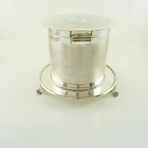 Antique English Silver Plate Biscuit Box, Barrel with Crest or Armorial - 43 Chesapeake Court Antiques