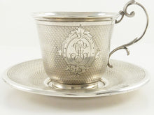 Load image into Gallery viewer, Antique French Sterling Silver Cup & Saucer, Demitasse Size - 43 Chesapeake Court Antiques