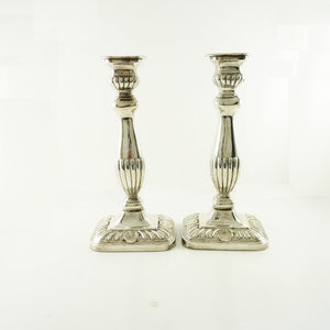 Antique English Silver Candlesticks, Late 19th C - 43 Chesapeake Court Antiques